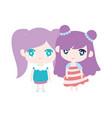 kids cute little girls anime cartoon characters vector image vector image