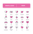 line icons set heart vector image vector image