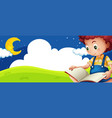 little boy reading book at night vector image vector image