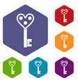 love key icons set hexagon vector image vector image