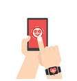 measuring heart rate smart phone smar twatch vector image