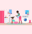mother with daughter in domestic household chores vector image
