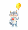 naive childrens drawing of a cat with a gift and vector image vector image