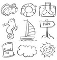 object summer holiday doodle style vector image vector image