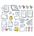 office paper and hearts isolated icons set vector image vector image