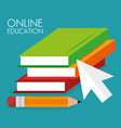 on line education with books vector image