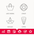 Paper boat flippers and lifebuoy icons