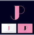 pink j and p monogram letters logo vector image