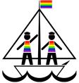 Sailors in rainbow vests vector image vector image