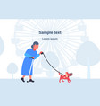 senior woman walking with dog in muzzle best vector image