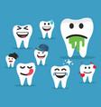 set cute tooth emoji emoticons vector image