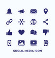 simple set social media icon in dark blue color vector image vector image
