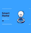 smart home isometric banner with iot light bulb vector image vector image