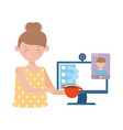 stay at home meeting online woman with computer vector image vector image