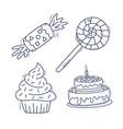 sweet cupcake cake candy and lollipop set hand vector image vector image