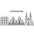 switzerland basel line skyline vector image vector image