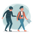 thief stealing money from tourist isolated vector image vector image