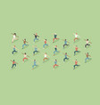 training outdoors people doing group exercise vector image vector image