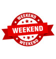 weekend ribbon weekend round red sign weekend vector image vector image