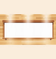 white banner on wooden board vector image vector image