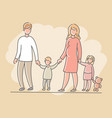 woman and man with children boy and girl vector image