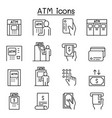 atm icons set in thin line style vector image vector image