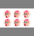 avatar woman facial emotions round vector image