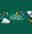 back to school papercut kid supplies chalk board vector image vector image