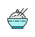bowl cooked rice flat color line icon vector image