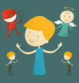 boy with red devil and cute angel vector image vector image