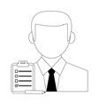 businessman with clipboard and pencil vector image vector image