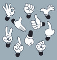Cartoon arms various hands with different gesture