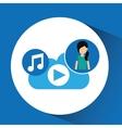cartoon girl green shirt music cloud app vector image