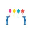 children playing balloon logo designs inspiration vector image vector image