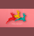 christmas new year reindeer paper origami card vector image vector image