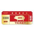 christmas ticket with pig and date new year vector image vector image