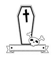 coffin halloween with skull decorative icon vector image vector image