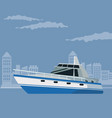 color poster city landscape with boat over water vector image vector image