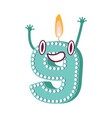 cute birthday candle number character nine vector image vector image