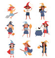 cute little girls dressed as a witches set vector image