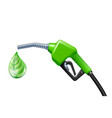 drop like a green leaf dripping from fuel handle vector image vector image