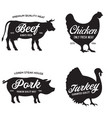 farm animals icons set collection labels vector image vector image