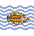 fish on wave background vector image