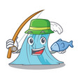 fishing cartoon blue wave surf vector image