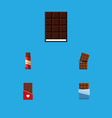 flat icon cacao set of bitter dessert sweet and vector image vector image