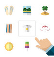 flat icon summer set of reminders clothes vector image vector image