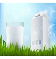 fresh milk in a glass container milk vector image