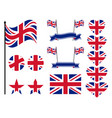great britain flag set collection of symbols vector image