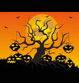 halloween pumpkin tree background vector image