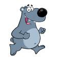 happy gray bear cartoon character running vector image vector image